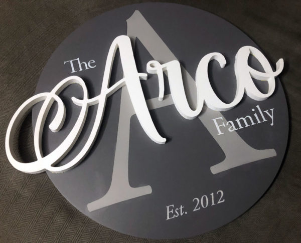 Personalized Wood Family Name Sign – Gray Tones