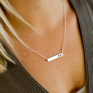 Mother's Birthstone Horizontal Bar Necklace with Handset Crystals