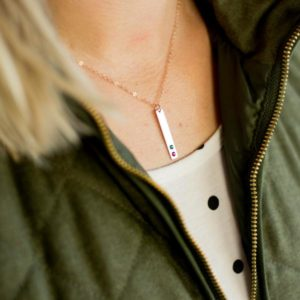 Mother's Birthstone Vertical Bar Necklace with Handset Crystals