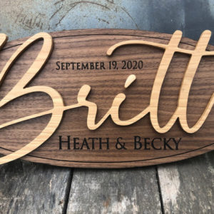 Personalized Wood Family Name Sign – Black Walnut Oval
