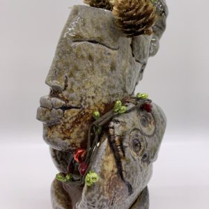 Ceramic figurative sculpture atmospherically fired