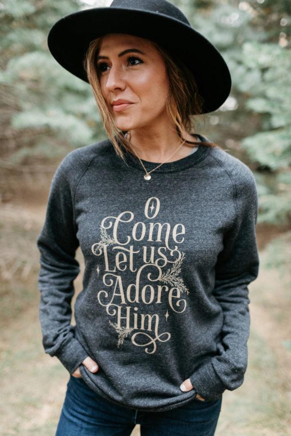 """O Come Let Us Adore"" Unisex Fleece Sweatshirt"