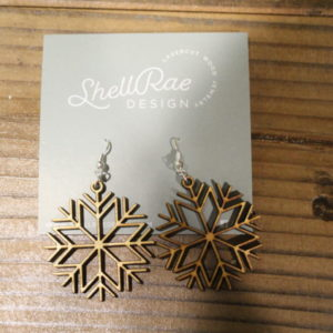 photo of Snowflake wooden earrings, Blossoming Creations, Shop Iowa
