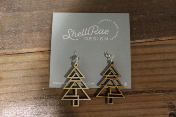 photo of Christmas Tree wooden earrings, Blossoming Creations, Shop Iowa