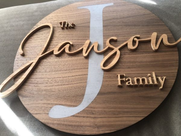 Personalized Wood Family Name Sign – Black Walnut