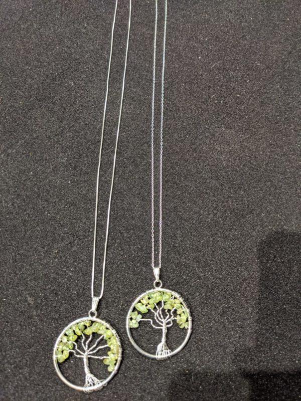 Peridot Gemstone Tree of Life Necklace