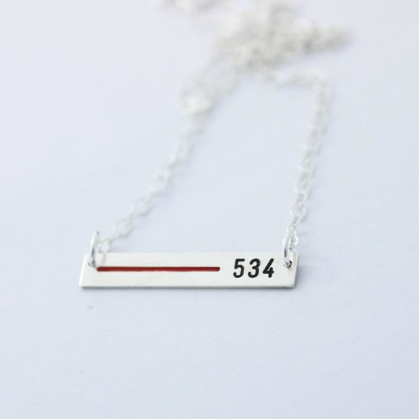 Thin Blue/Red Line Personalized Necklace for Police/Fire Loved One – Rectangle Bar- Sterling Silver, Gold, or Rose Gold