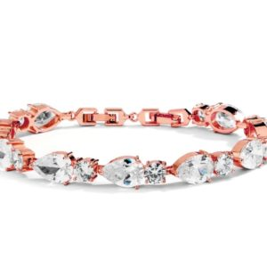 Rose Gold Cubic Zirconia Pears and Rounds Bracelet