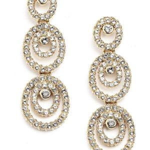 Gold Concentric Cubic Zirconia Earrings