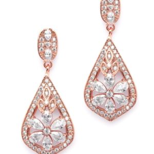 Gold Cubic Zirconia Mosaic Teardrop Earrings