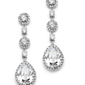 Silver Rhodium Cubic Zirconia Rounds & Pears Earrings