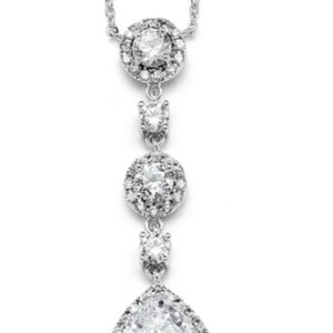 Silver rhodium pear drop necklace