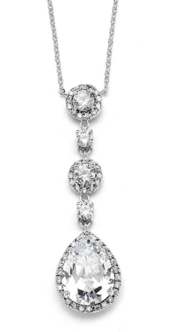 Silver rhodium pear drop necklace