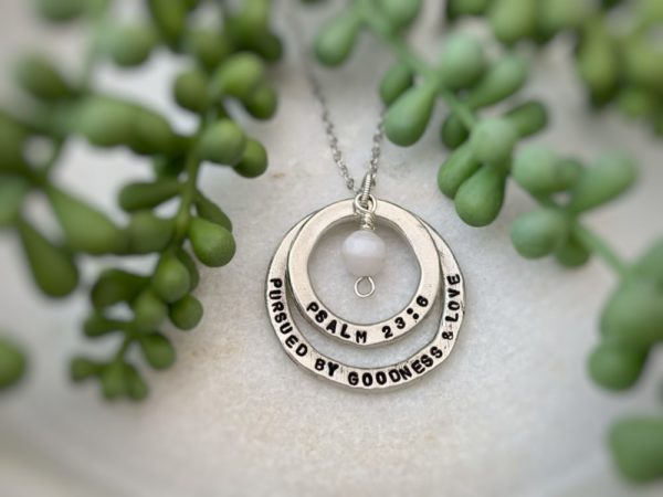 """""""Pursued By Goodness & Love"""" Psalm 23 Necklace"""