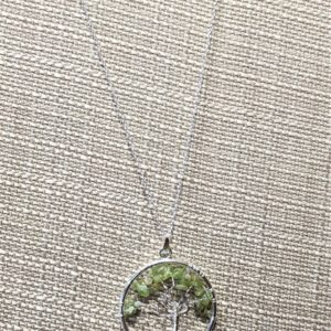 Peridot Gemstone Tree of Life Necklace
