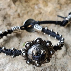 Black macramae on leather & silver concho bracelet