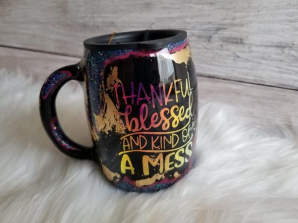 Thankful, Blessed, and Kind of A Mess Insulated Mug