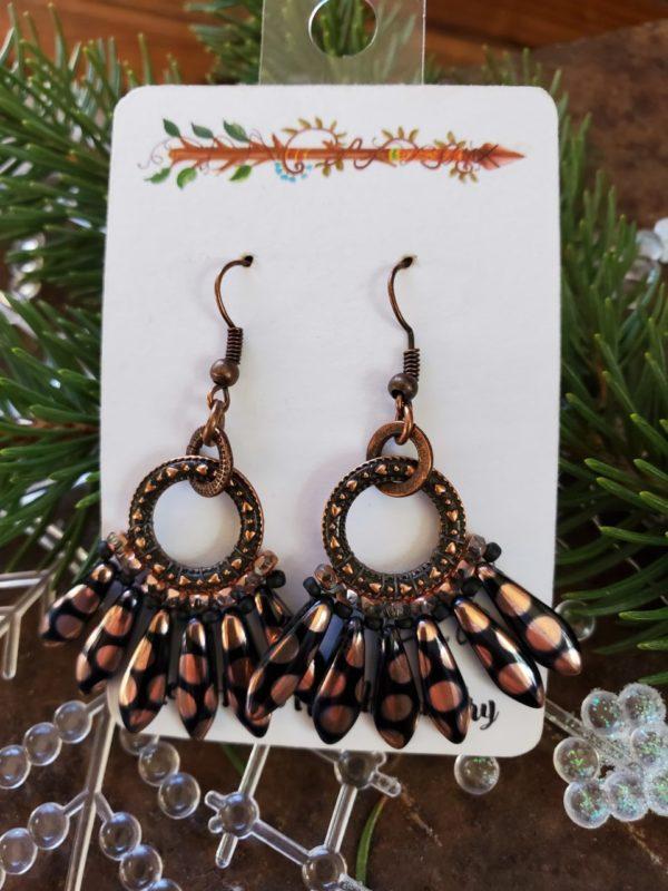 Black & Copper Earrings