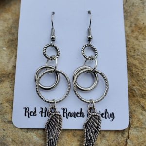 Silver Wings & Rings Earrings