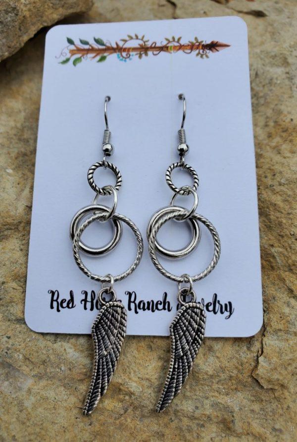 Silver Wings & Rings Earrings