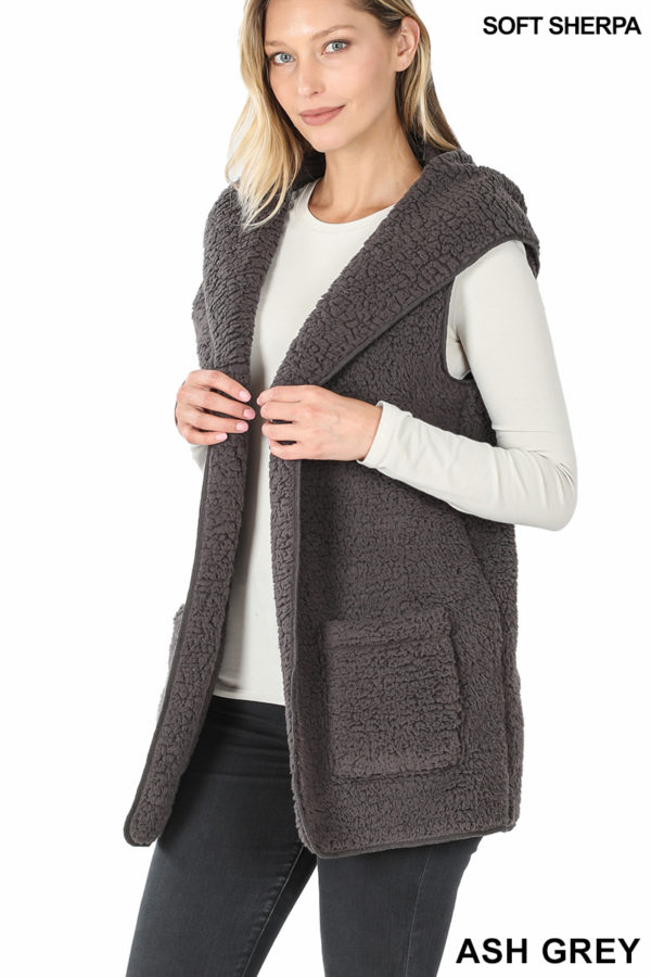 Soft Sherpa Hooded Vest with Pockets
