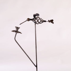 Hummingbird Stake with Daffodil Metal Creation