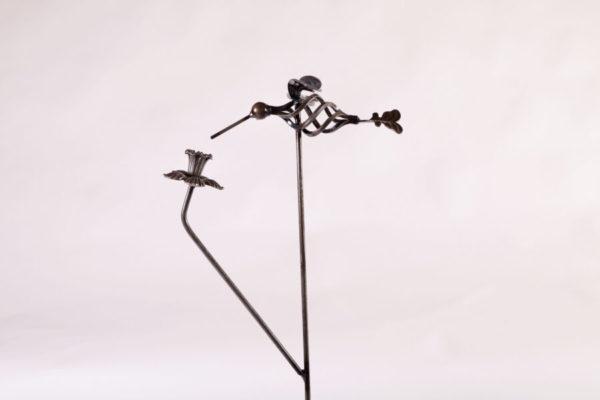Hummingbird Stake with Daffodil Metal Creation