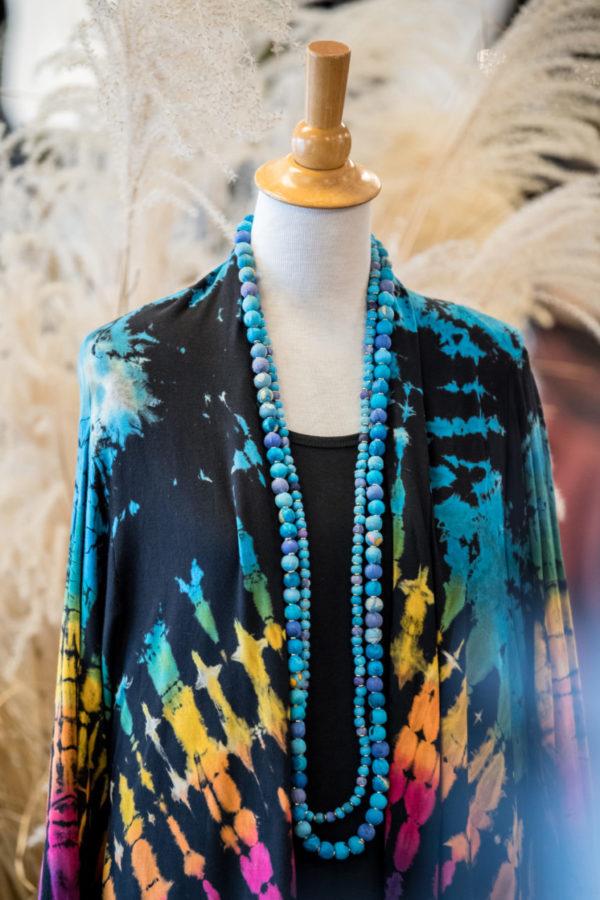 Black and Rainbow Tie Dye Duster Jacket