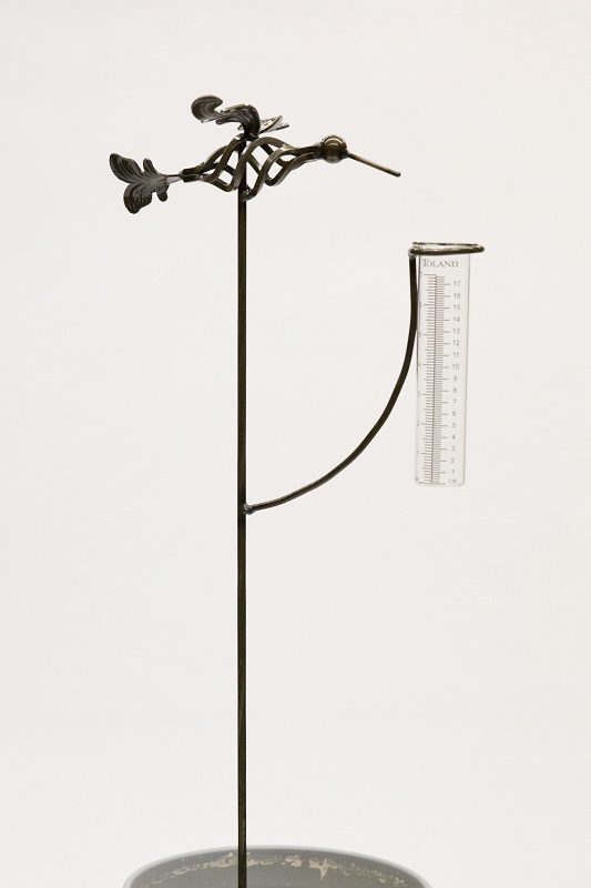Metal Hummingbird Rain Gauge