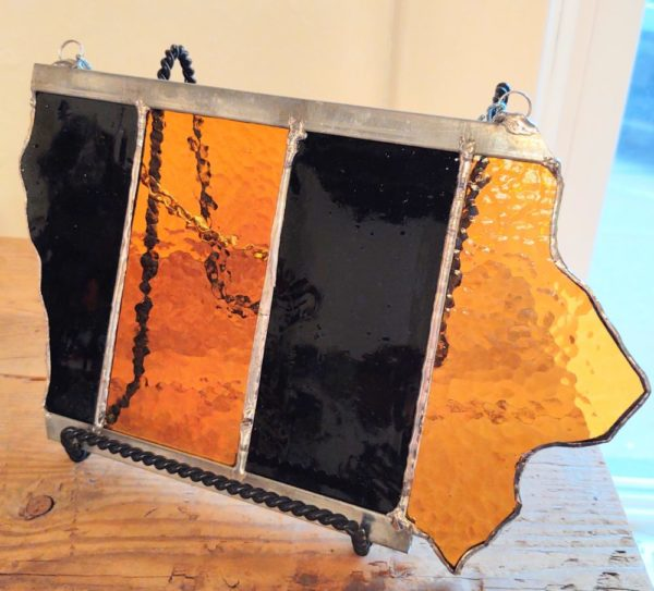 Stained Glass 'Iowa' – Black & Gold