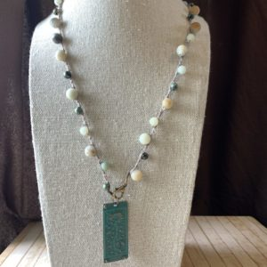 Amazonite Floral Patina Charm Necklace