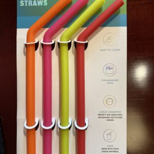 Reusable Silicon Large Straws (set of 4)
