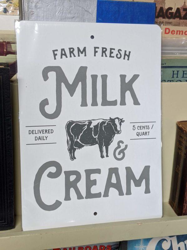 Milk & Cream Tin Sign