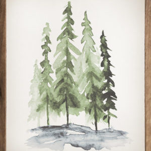 Watercolor Pine Trees – Kendrick Home Wood Sign