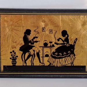 Vtg. Art Pub Co. framed Silhouette – Couple drinking tea