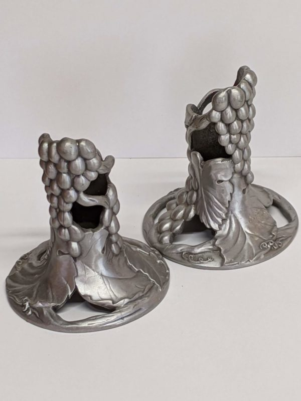 Pewter Grapevine Candle Holders