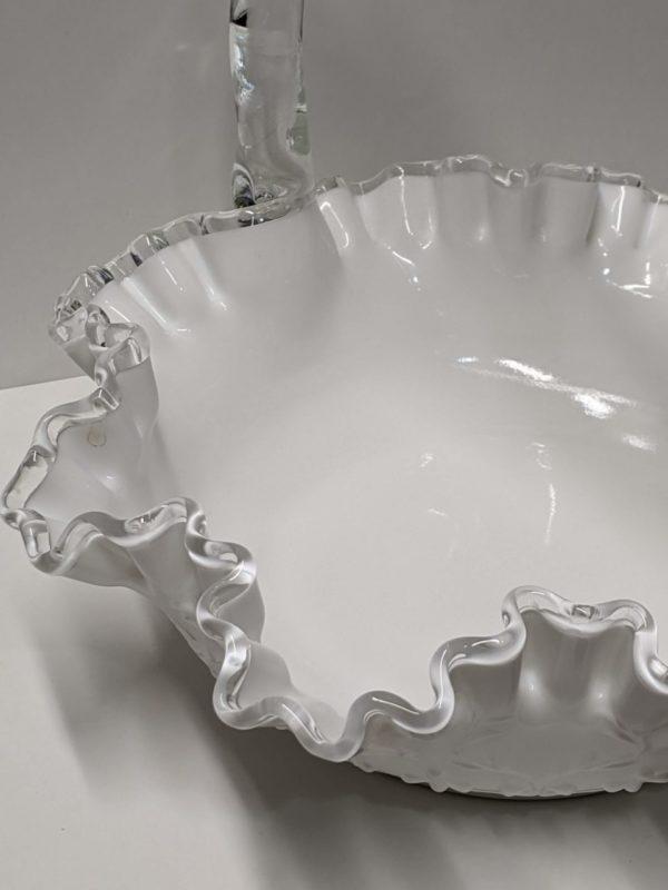 Fenton Silver Crest Milk Glass Basket