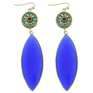 Turquoise Red Nepal Genuine Stone Drop Earring
