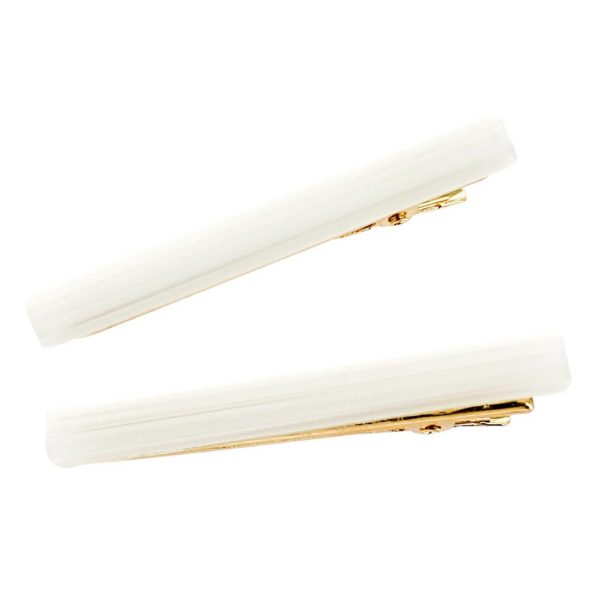 White Thin Gold Hair Clip