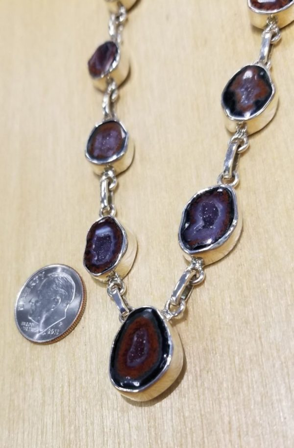 Brown Agate geode druzy and sterling silver statement necklace