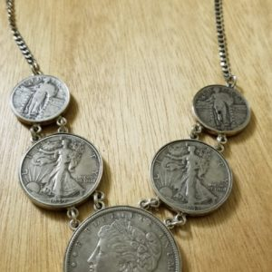 necklace made from vintage coins