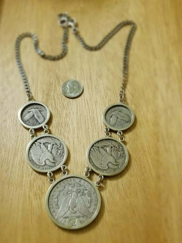 Vintage Real coin and sterling silver necklace handmade by Anna King Jewelry
