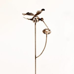 Hummingbird Stake with Rose Metal Creation