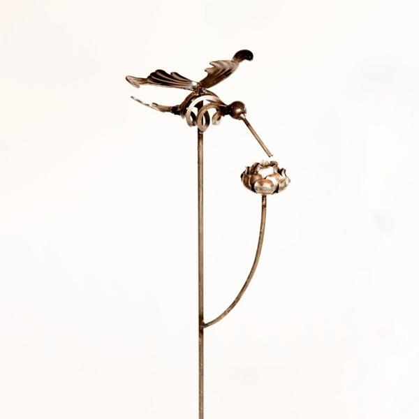 Hummingbird Stake with Rose Metal Creation