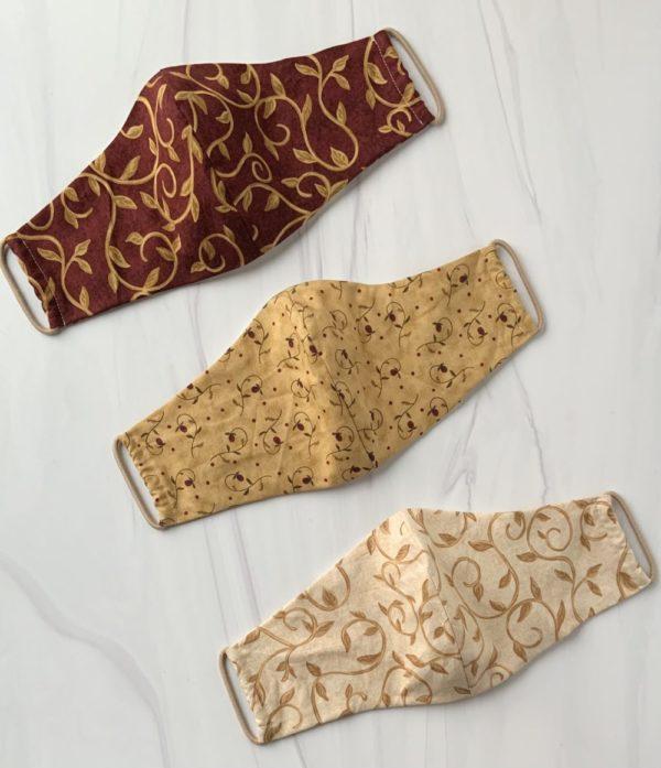 Designer 100% Cotton Face Mask – Burgundy & Neutrals