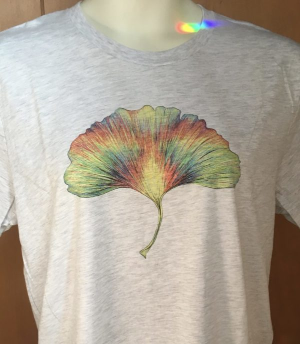 Whirling Rainbow Ginkgo Tee 100% cotton Ash White Unisex
