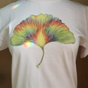 Whirling Rainbow Ginkgo Tee 100% cotton Youth, Ash and Pale Pink