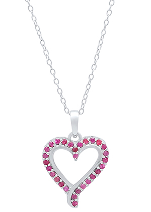 Red ruby and sterling silver heart necklace