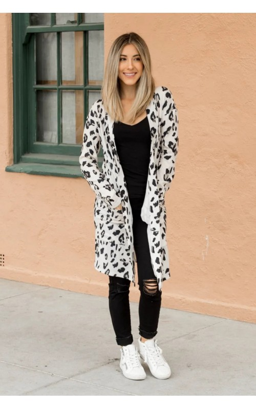 photo of White Leopard Print Open Front Pocketed Cardigan, ShanClair Chic Boutique, Shop Iowa