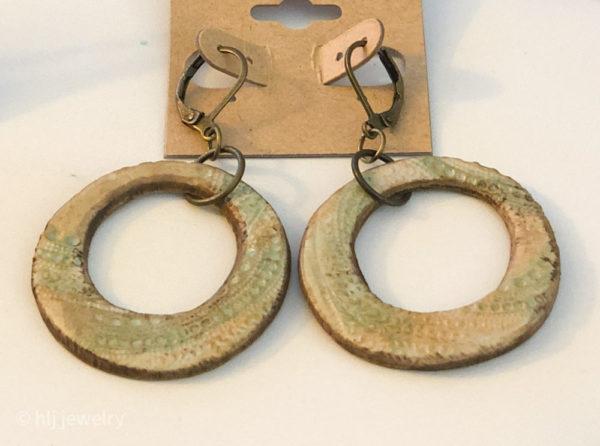Handmade Textured Clay Hoop Dangles on Brass Leverback Earrings